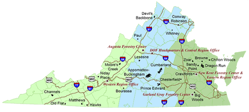 VA Forestry-Centers-Offices-Regions